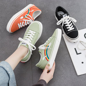 Casual Women Rainbow Flat Comfotable Canvas Shoes
