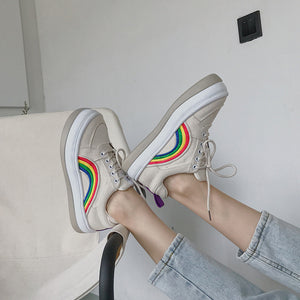 Fashion Thick Bottom Rainbow Lace-up Canvas Shoes