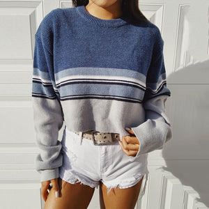 Fashion Round Collar Long Sleeved Spell Color Knitted Sweater