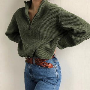 Solid Color Casual Loose Zipper Zipper Sweatshirt