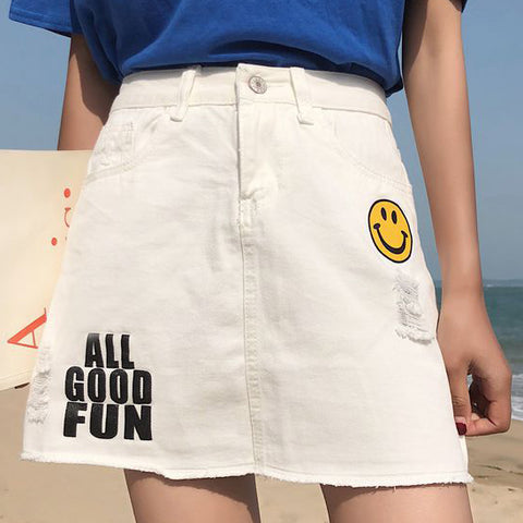 Ladies casual smiley print denim skirt