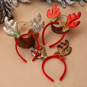 Cute cartoon antler bell headband christmas ornament