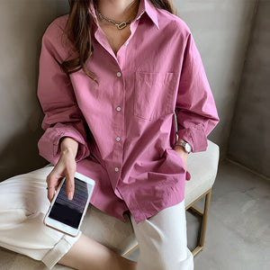 Women's fashion simple solid color loose blouse