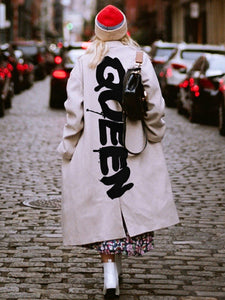 Autumn/winter fashion long-sleeved printed overcoat