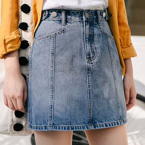 Women's Simple High Waist Denim Skirt