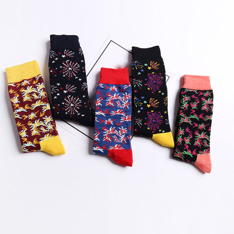 Fashion unisex fireworks pattern mixed color cotton socks