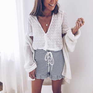 Sexy V-Neck Lace Print Short Sleeve Blouse