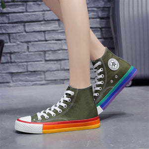 Casual lace-up rainbow sole flat canvas shoes