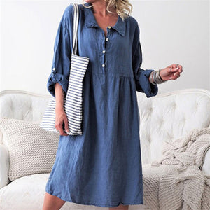 Casual Button Loose Long Sleeve Dress