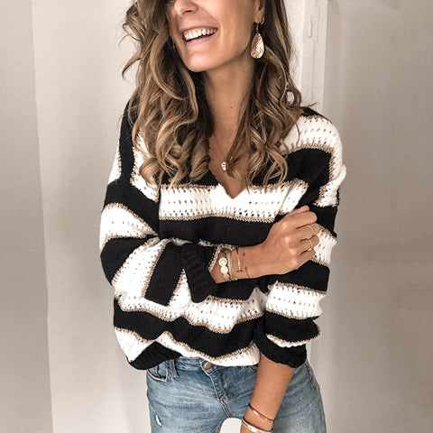 Casual V-Collar Striped Knitted Sweater