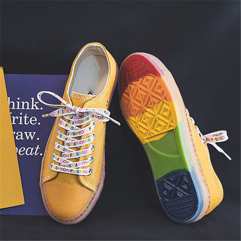 Fashion Letter Lace-Up Rainbow Insole Shoes