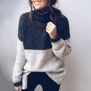 Casual High Collar Spell Color Knit Sweater