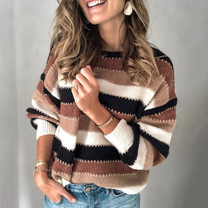 Casual Round Neck Stripe Sweater