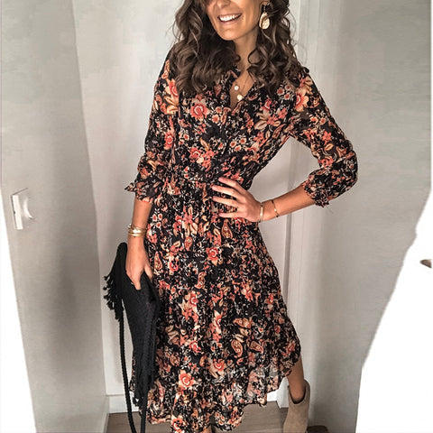 Fashion V-neck Floral Long Sleeve Dress RY23
