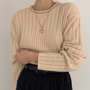 Women's Solid Color Round Neck Knit Top DWQ08