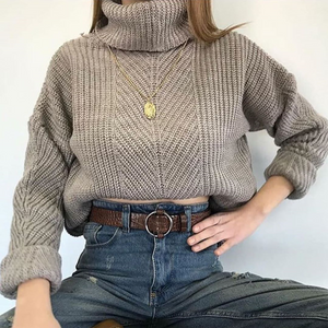 Fashionable high neck long sleeve solid color sweater