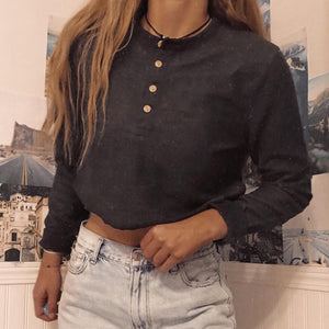 Sexy Round Neck Solid Color Long Sleeve Button T-Shirt