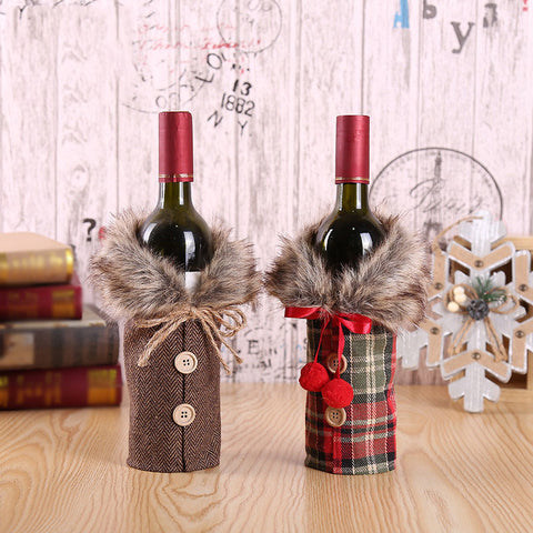 Christmas bow wine bottle case