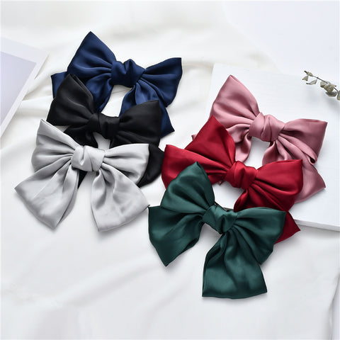 Fashion Ladies Silk Double-Layer Oversized Bow Hair Clip