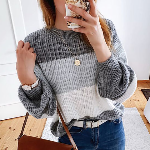 Fashion Round Neck Color Block Sweater