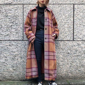 Womens Turndown Collar Plaid Printed Overcoat