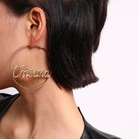 Retro fashion exaggerating large circle letters earings