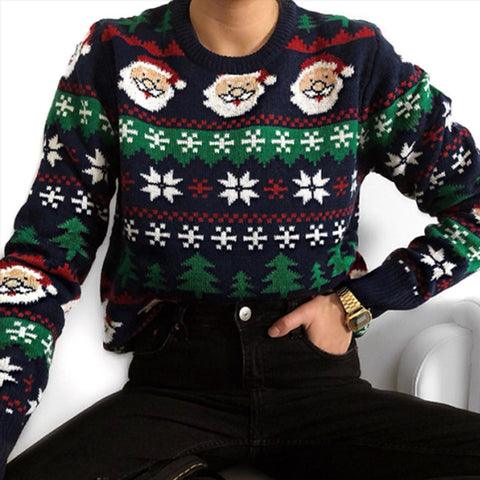 Fashionable pure color printing round neck sweater