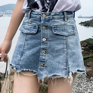 Girl's casual high waist denim skirt