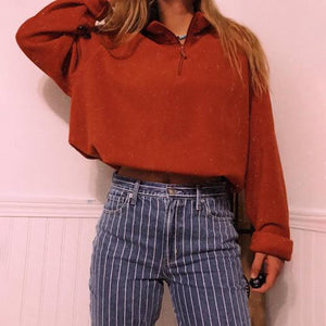 Fashion solid color round collar long sleeved T-shirt