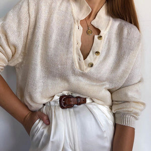 Casual button stand collar sweatshirt beige loose sweater