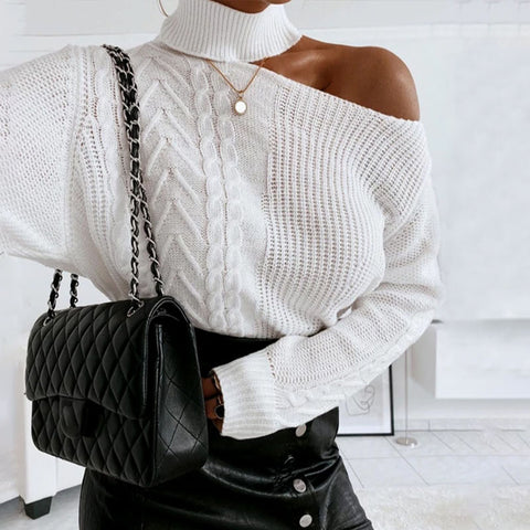 Round neck off-the-shoulder loose casual women's sweater