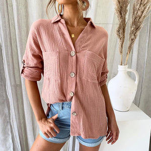 Women's Casual Deep V-Neck Long Sleeve Pure Color Loose Blouse