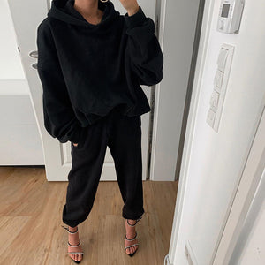 Fashion Pure Color Long Sleeve Loose Hooded Suit
