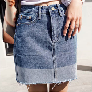 Women's high-rise contrast denim skirt