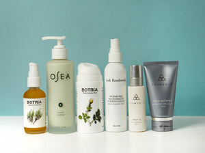 Group photo of six different clean skincare products from Botnia, Osea and Cosmedix including masks, cleansers and facial oils.