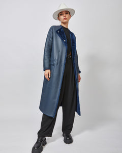 Navy shearling coat