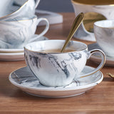 Marble Teacup with Saucer and Teaspoon