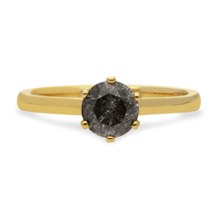 salt and pepper diamond engagement ring by bespoke jewellers EC One London. Hand made in the EC One London workshop in recycled yellow gold.