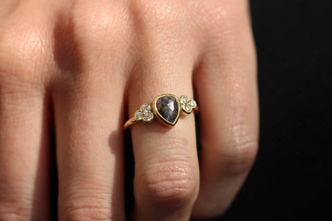Salt and Pepper Diamond engagement ring by ethical jeweller EC One London. Hand made in London in recycled gold