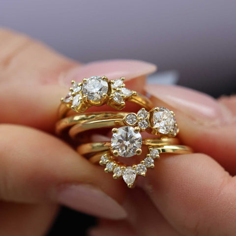 A customer of EC One engagement rings made from recycled gold and conflict free diamonds in our London workshop