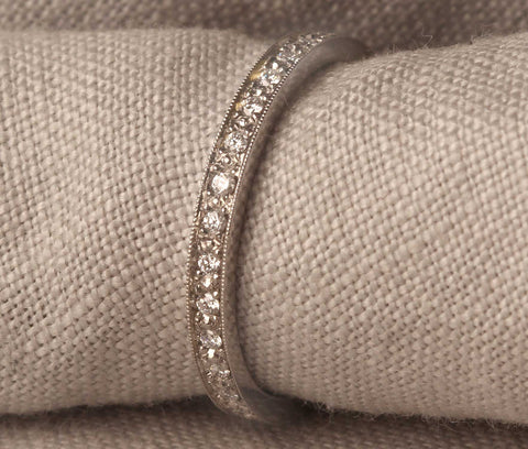 EC One pave grain set diamond eternity ring recycled gold made in London