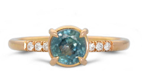 Ethical Madagascan Teal Sapphire Engagement Ring EC One