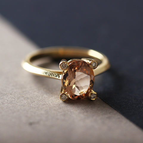 Bespoke ethical engagement ring recycled gold conflict free diamonds Morganite by EC One London