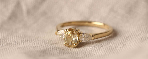 The Phoebe champagne diamond engagement ring by EC One in London recycled gold and conflict free diamonds