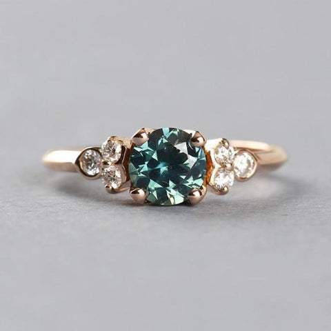 Bespoke ethical engagement ring recycled gold conflict free diamonds Sapphire by EC One London