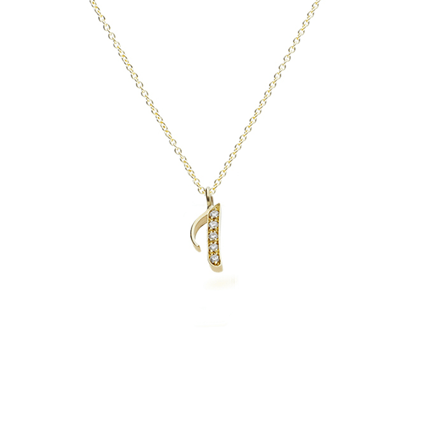 "EC One recycled Gold Number ""1"" Pendant necklace with diamonds"