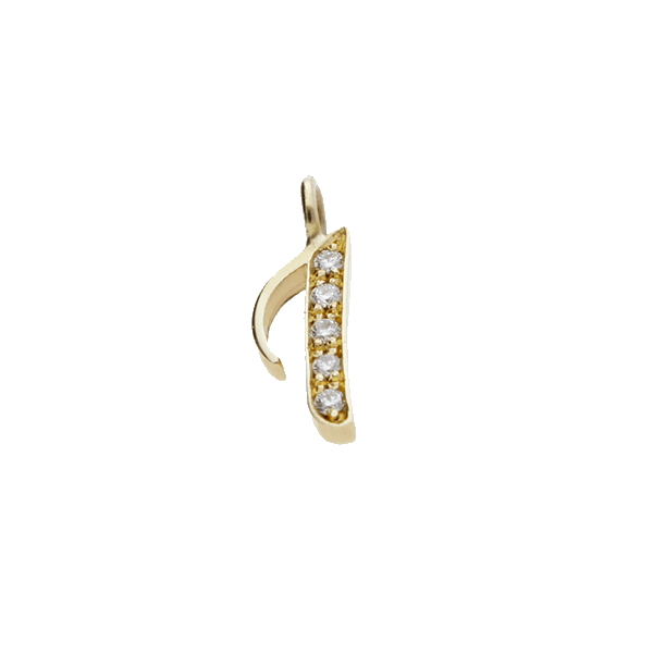 "EC One Diamond set recycled Gold number ""1""  charm"