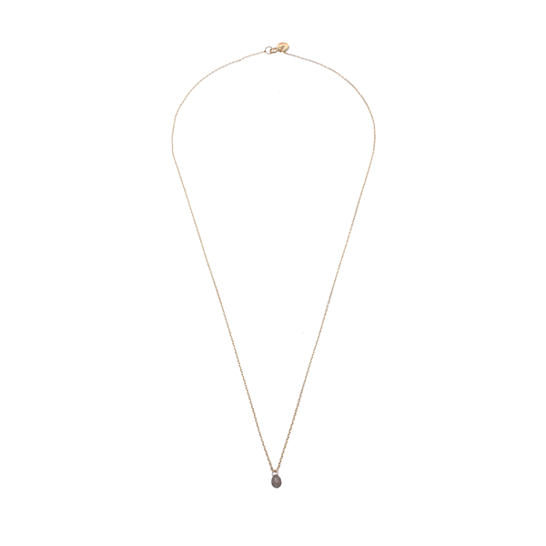 EC One Grey Diamond Briolette recycled Gold Necklace