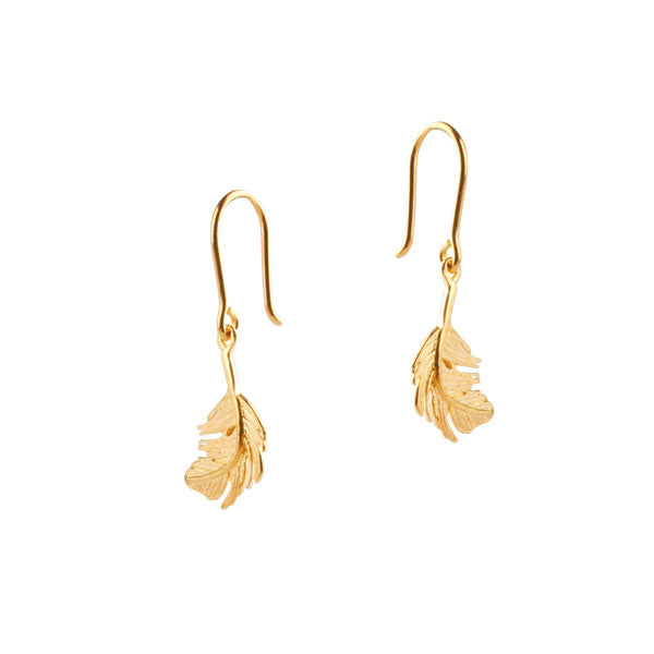 EC One Alex Monroe Gold Feather Drop Earrings