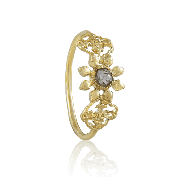 Triple Petal Gold and Diamond Ring